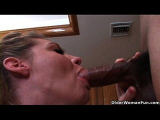 Soccer Mom Opens Her Mouth For Cum