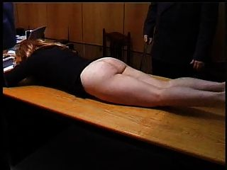 Naughty Secretary Is Punished With A Strapping