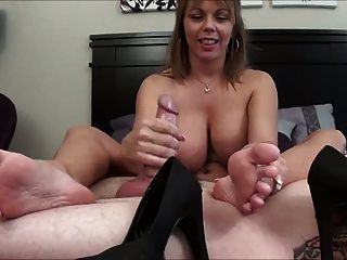 Sweaty Footjob And Cum Inside Her Shoe.