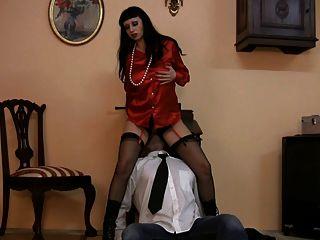 Milf Mistress In Satin Blouse And Stockings Masturbating