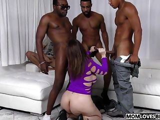 Mom Sara Jay Gets Fucked By Three Big Black Cocks