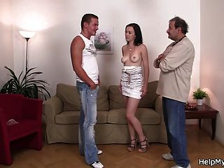 Old Husband Watching His Young Wife Riding