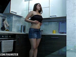 Russian Hairy Babe Masturbates In The Kitchen